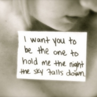 I Want You To Be The One To Hold Me The Night The Sky Falls Down